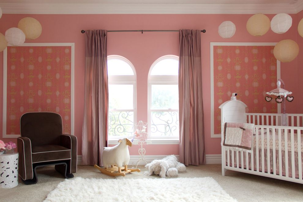 Round Pink Rugs for Nursery with Traditional Nursery Also Arched Window Armchair Baby Bed Brown Armchair Carpet Light Carpet Pink Pink Wall Rug Traditional Wallpaper White and Pink White Rug Window Treatment