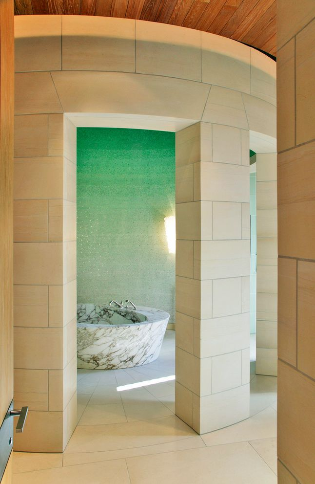 Round Top Antique Show with Contemporary Bathroom Also Beige Column Beige Tile Floor Beige Tile Wall Curved Wall Green Wall Ombre Wall Round Bath Tub Round Tub Stone Bathtub Wood Ceiling
