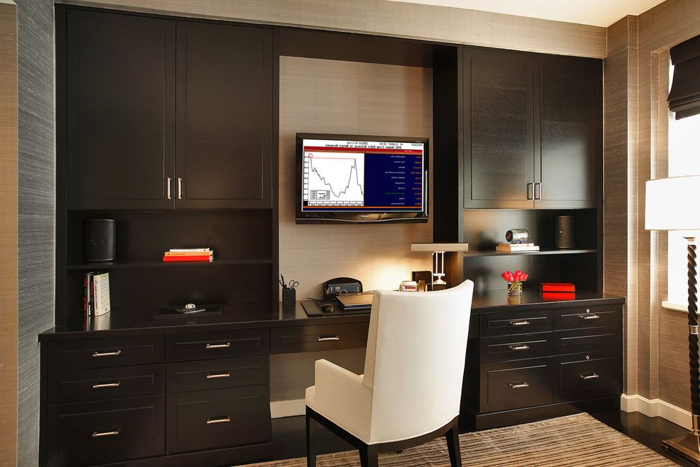 Rta Office Cabinets   Contemporary Home Office Also Area Rug Arm Chair Baseboard Built in Built in Desk Dark Floors Floor Lamp Roman Shades Shelving Storage Table Lamp Television Tv Wall Cabinets Wallcoverings Wallpaper Wood Desk Wood Flooring