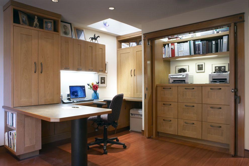Rta Office Cabinets   Contemporary Home Office Also Built in Desk Built in Storage Ceiling Lighting Closet Office Floating Shelves Home Office Photo Ledge Recessed Lighting Skylights Under Cabinet Lighting Wood Cabinets Wood Floors