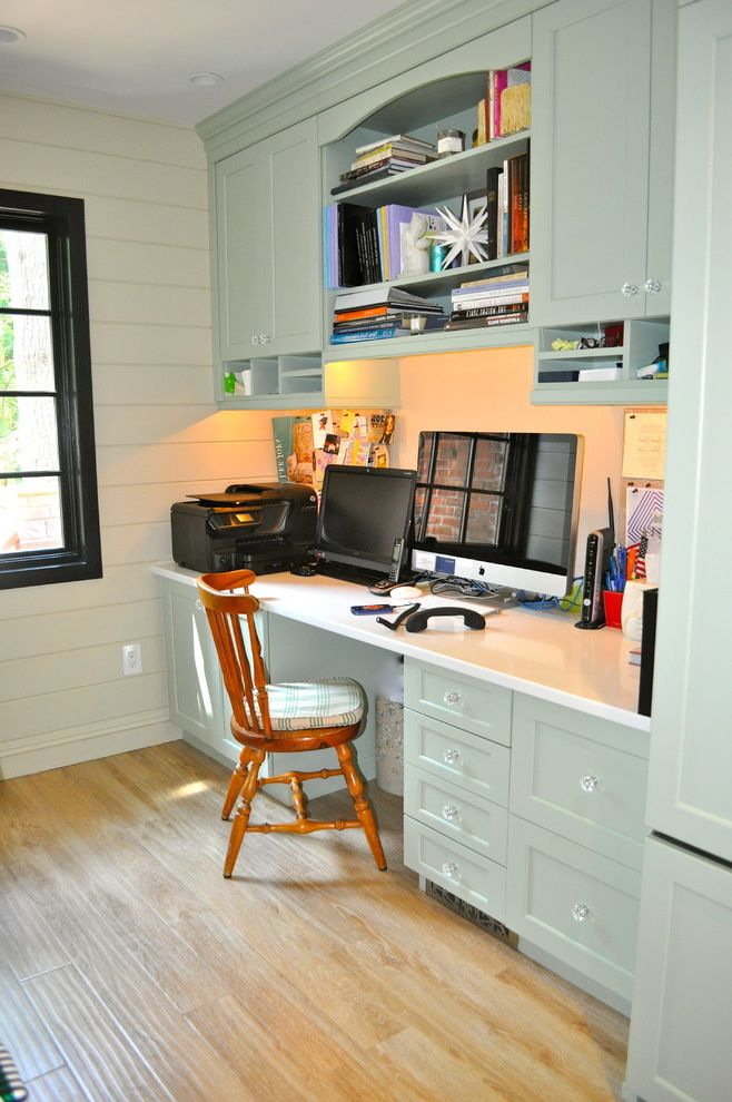 Rta Office Cabinets Traditional Home And Built In Desk Storage Crystal S Green Kitchen Neutral