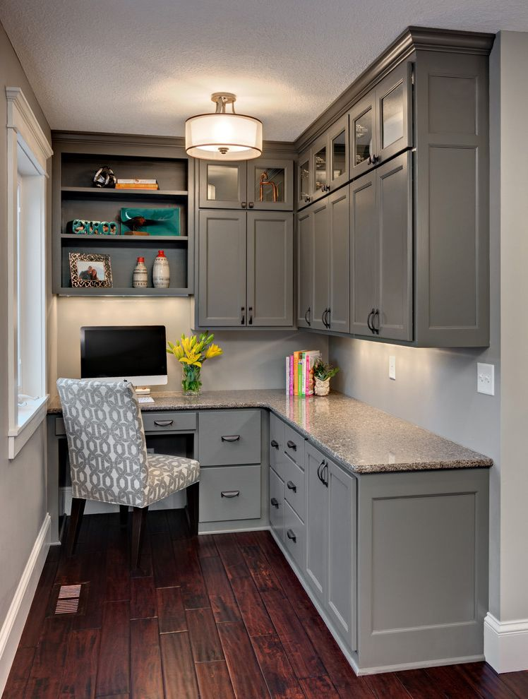 Rta Office Cabinets with Traditional Home Office  and Cambria Countertops Desk in Kitchen Gray Cabinets Gray Desk Patterned Chair Pendant Light Under Cabinet Lighting