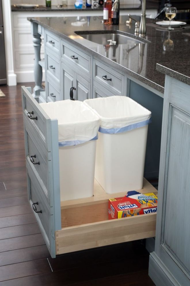Rubbermaid Garbage Cans with Traditional Kitchen Also Custom Cabinetry