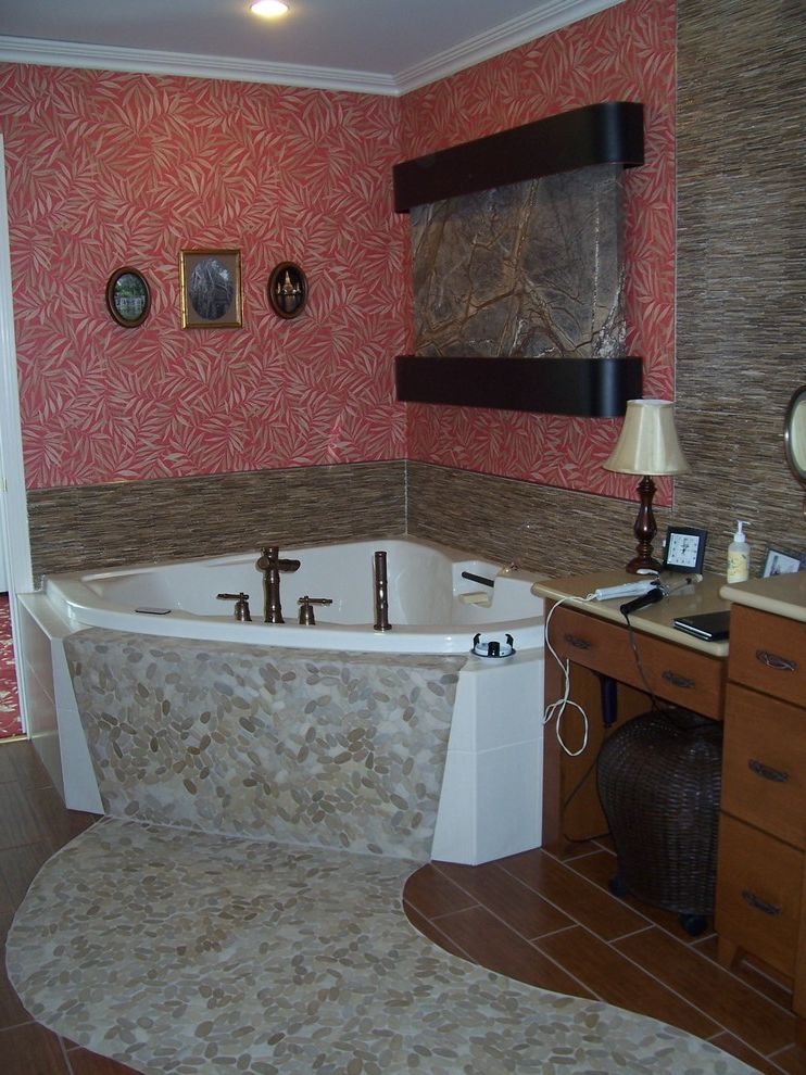 Ruby & Quiri   Asian Bathroom Also and Fountain Supplied by Ruby Quiri Designed by Ruby Quiri Tile Lighting Wallcovering