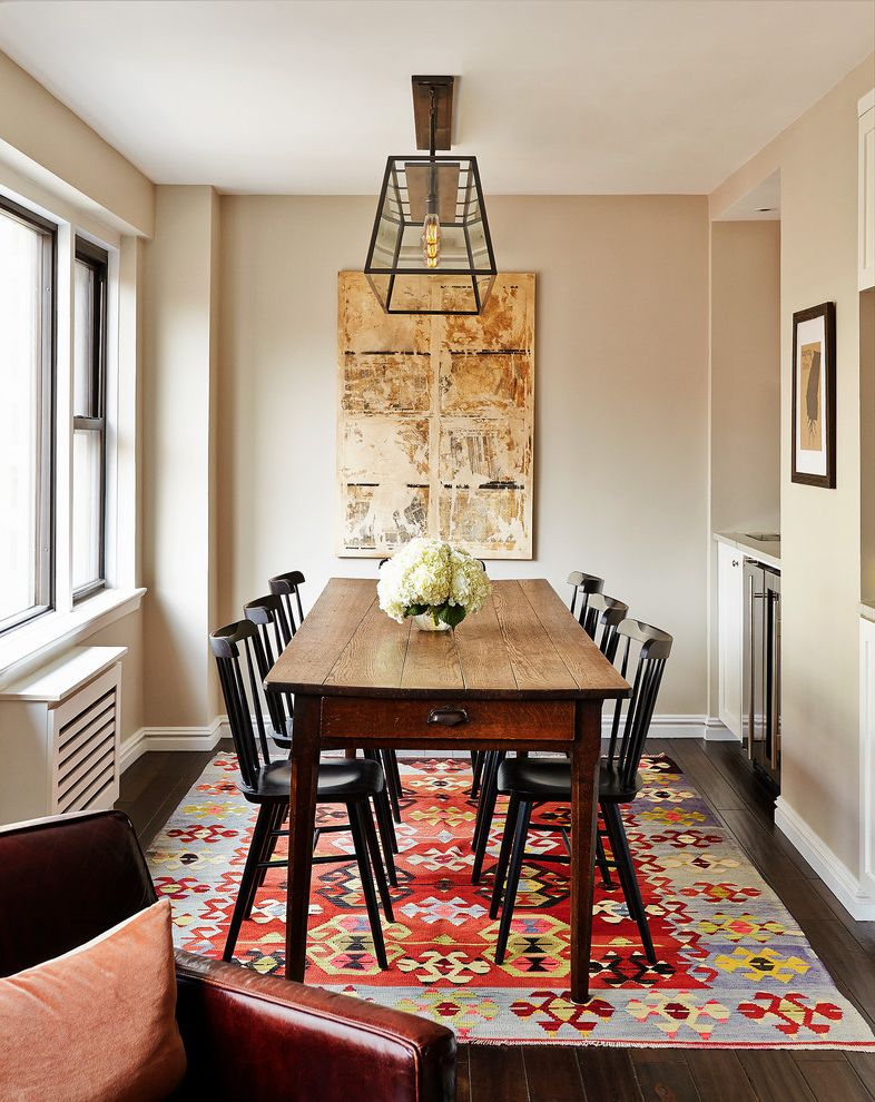 Rug Sizes Chart   Traditional Dining Room  and Abstract Art Abstract Painting Bright Rug Chandelier Edison Bulb Farm Table Kilim Rug Lantern Chandelier Traditional Windsor Chairs