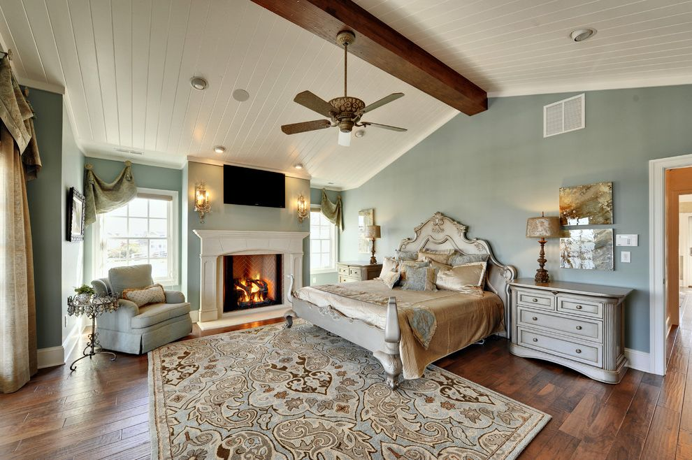 Rugs at Home Depot with Contemporary Bedroom  and Armchair Blue Armchair Blue Rug Blue Wall Paint Chest of Drawers Curtains Dramatic Window Treatments Drapes Fireplace Hutch Rococo Bed White Wooden Ceiling Window Treatments Wood Beam