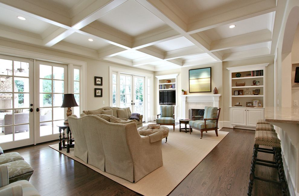 Rugs at Home Depot with Traditional Living Room  and Area Rug Breakfast Bar Built in Shelves Ceiling Lighting Coffered Ceiling Dark Floor Eat in Kitchen French Doors Neutral Colors Recessed Lighting Wall Art Wall Decor Wood Flooring