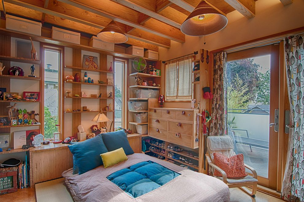 Rustic Duvet Covers   Eclectic Kids Also Built in Shelving Kids Bedroom