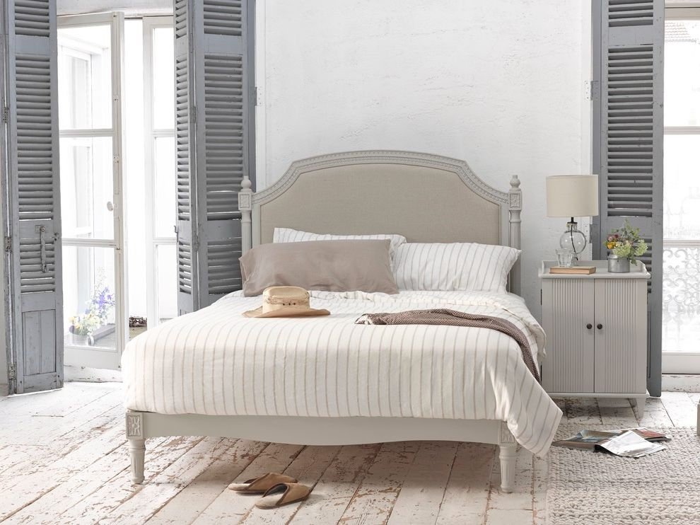 Rustic Duvet Covers with Shabby Chic Style Bedroom  and Bed Bed Linen Bedroom French French Doors Headboard Painted Floorboards Rustic Bedroom Shutters Striped Linen White and Grey Bedroom Window Shutters