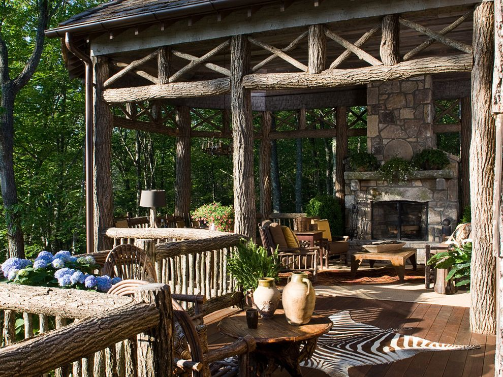 Rustic Duvet Covers with Traditional Porch Also Bark Railing Branches Covered Porch Hydrangea Mountain House Outdoor Fireplace Rustic Rustic Porch Seating Area Stone Timbers Zebra Rug
