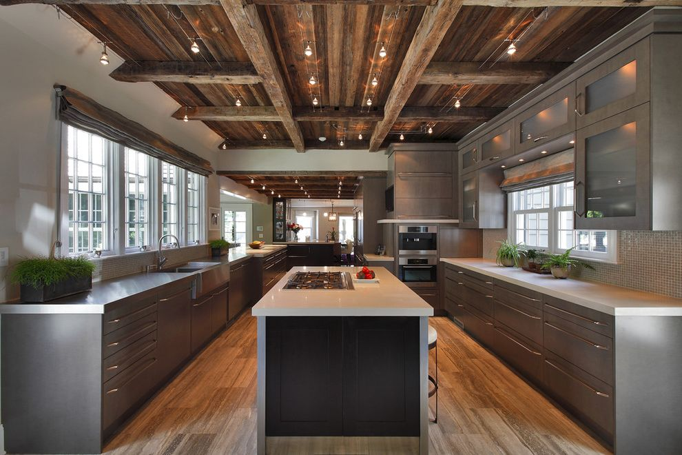 Rustic Flush Mount Ceiling Lights   Rustic Kitchen Also Apron Sink Farm Sink Flush Cabinets Halogen Lights Kitchen Island Mosaic Tile Pleated Roman Shade Rustic Salvaged Wood Stainless Steel Stonework Track Lights White Counters Wood Beams Wood Floor