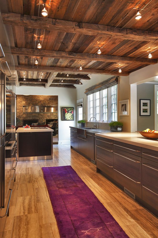 Rustic Flush Mount Ceiling Lights   Rustic Kitchen  and Apron Sink Farm Sink Flush Cabinets Halogen Lights Pleated Roman Shade Purple Carpet Runner Rustic Salvaged Wood Stainless Steel Stonework Track Lights Wood Beams Wood Floor