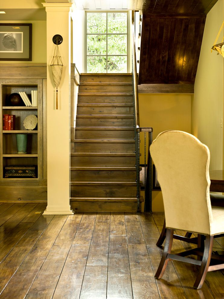 Rustic Laminate Wood Flooring Traditional Staircase Also Basement Bookcase Dark Floors Plank Stairs