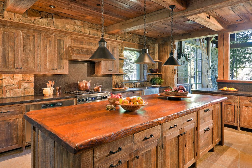 Ruth's Chris Jacksonville with Rustic Kitchen  and Cabinets Exposed Beams Exposed Timbers Island Kitchen Raw Finishes Reclaimed Rustic Weathered Wood Wood Countertop Wooden Countertops