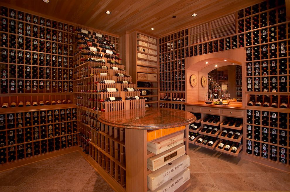 Ruth's Chris Jacksonville with Traditional Wine Cellar Also Counter Floor to Ceiling Niche Open Shelves Recessed Lighting Tiered Wall to Wall Wood Panel Ceiling