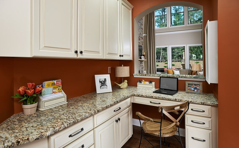 Ryan Homes Charlotte Nc   Traditional Home Office  and Alcove Arch Built in Cabinets Built in Desk Burnt Orange Wall Chair Corner Dark Hardware Desk Drawers Nook Pass Through