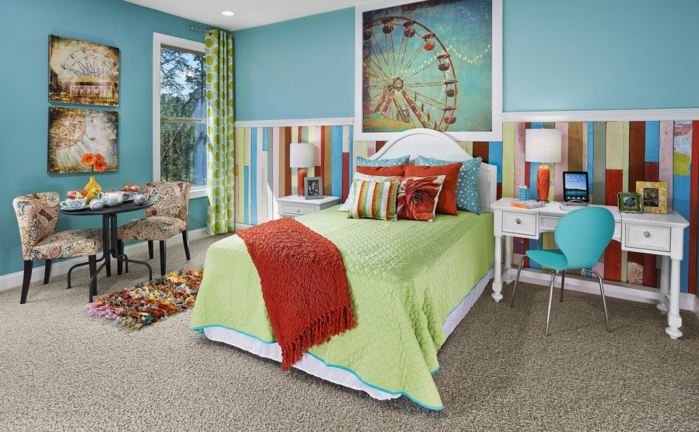 Ryan Homes Charlotte Nc with Traditional Kids Also Area Rug Bedding Bedroom Blue Wall Carpet Chair Chairs Colorful Cool Colors Desk Nightstand Pillows Table Table Lamp Teen Room Throw Wall Art Wall Treatment White Headboard Window