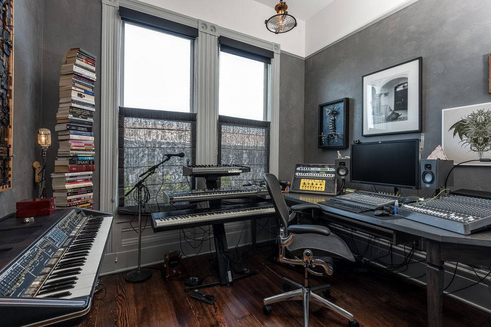 Sacramento Recording Studio   Contemporary Family Room  and Ceiling Lighting Faux Finish Gallery Wall Gray Trim Gray Walls Keyboards Music Studio Painted Molding Tall Ceilings Task Chair Vertical Bookshelf Victorian Architecture Wood Flooring