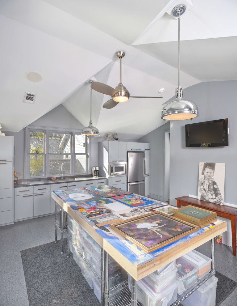 Sacramento Recording Studio   Contemporary Home Office  and Art Studio Bright Built in Refrigerator Chrome Creative Durable Flush Cabinets Functional Grey Laminate Floor Light Natural Shiny Storage Vaulted Ceiling Wall Mounted Wall Mounted