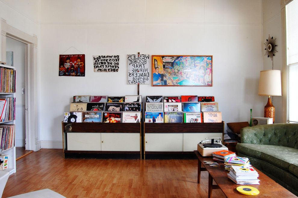 Sacramento Recording Studio Eclectic Home Office And Artwork Covered Porch Midcentury Record Collection Vintage Furniture