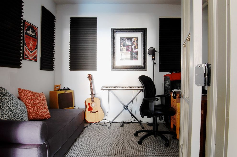 Sacramento Recording Studio   Industrial Home Office Also Black Blinds Daybed French Doors Gray Sofa Guest Room Guitar Keyboard Music Room Office Office Chair Recording Room Sound Proof Wall