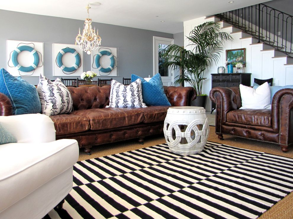 Saddle Leather Couch Contemporary Living Room And Blue Rug