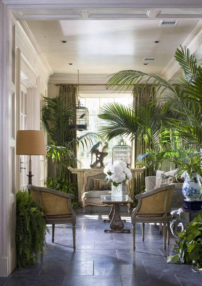 Sago Palm Care   Victorian Sunroom  and Bird Cage Ceiling Lighting Coffered Ceiling Floor Tile Floral Arrangement House Plants Lanai Recessed Lighting Sunroom White Wood Wood Molding