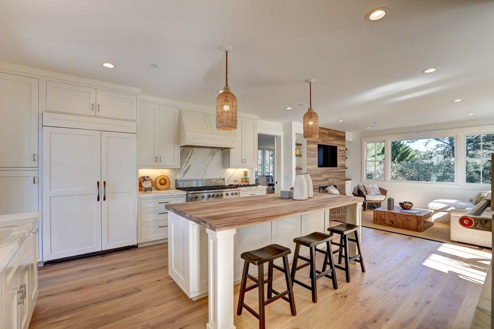 Salamander Cabinets   Transitional Kitchen Also Counter Stools Farmhouse Modern Pendant Lights Under Cabinet Lighting Walnut Counter Tops White Kitchen