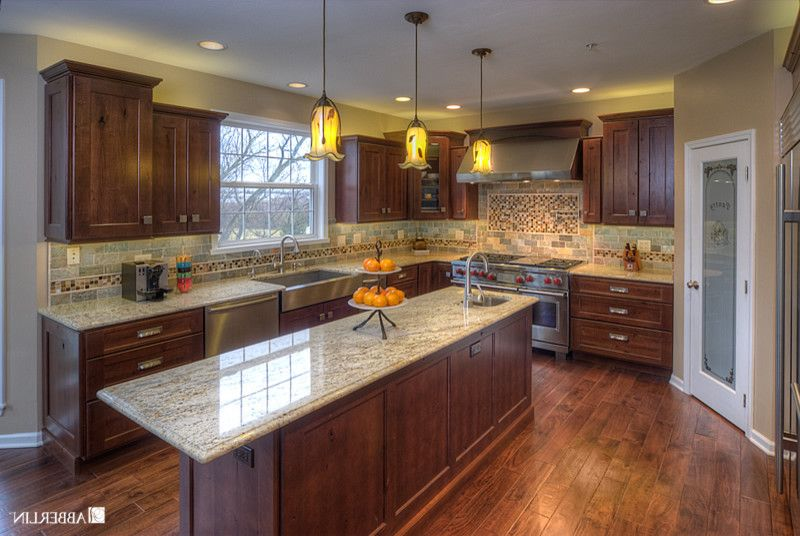 Salamander Cabinets with Eclectic Kitchen Also Glass Pendants Hand Scraped Floors Knotty Alder Cabinets Quarzite Rustic Cabinets