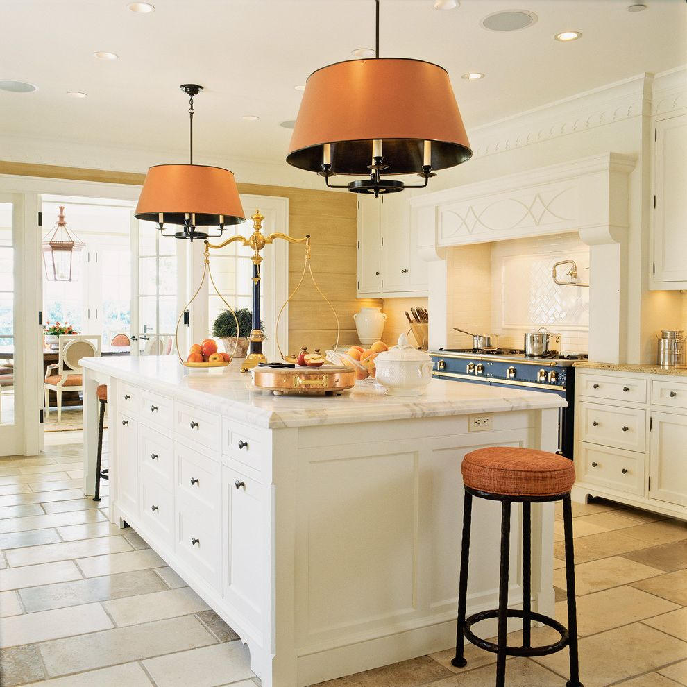 Salamander Cabinets with Traditional Kitchen  and French Doors Kitchen Island Pendant Lights Recessed Lighting Scale Tile Floor Tongue and Groove White Countertop
