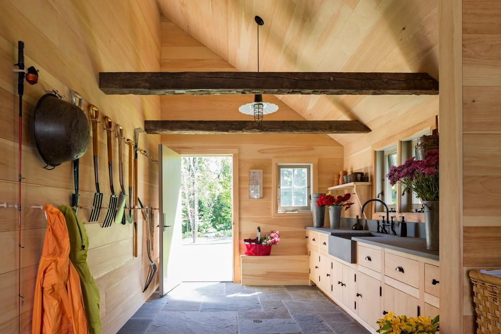 Salt Spray Sheds with Farmhouse Shed Also Barn Light Beamed Ceiling Bluestone Floor Built in Storage Potting Shed Sloped Ceiling Stone Sinks Tall Ceilings Wall Hooks Wood Cabinets Wood Walls