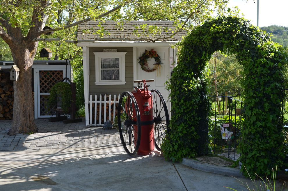 Salt Spray Sheds with Farmhouse Shed  and Arbor Arch Bird Houses Cement Climbing Ivy Entry Fire Department Pump Gable Roof Gate Ivy Lattice Metal Gate Pavers Pile Shed Tree Trellis Vintage White Casing Wood Wreath
