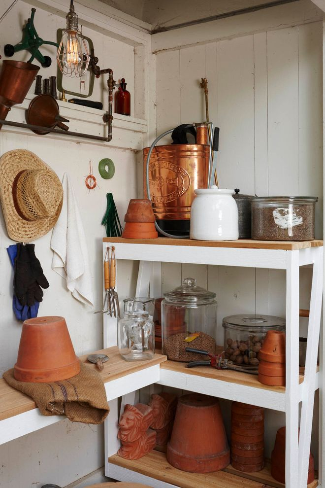 Salt Spray Sheds with Traditional Shed Also Caged Light Copper Garden Shed Glass Jars Gloves Pendant Light Terra Cotta Pots Tool Shed Tools White Painted Wood Wood Shelves