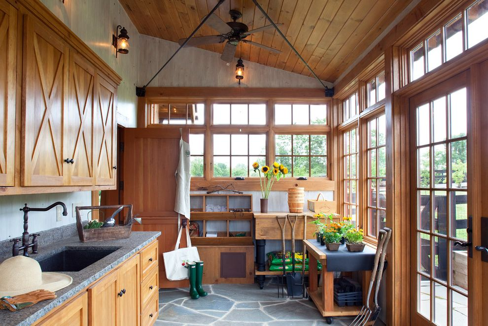 Salt Spray Sheds with Traditional Shed Also Ceiling Fan Flagstone Floor French Doors Garden Tools Muntins Potting Room Transom Windows Wood Cabinets Wood Ceiling Work Benches