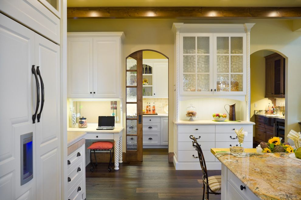 Samsung French Door Refrigerator Problems   Traditional Kitchen Also Accent Lighting Arched Pocket Door Beige Wall Dark Wood Floor Frosted Glass Pocket Door Glass Cabinet Granite Countertop Kitchen Desk White Cabinets Wood Beam Wood Pocket Door