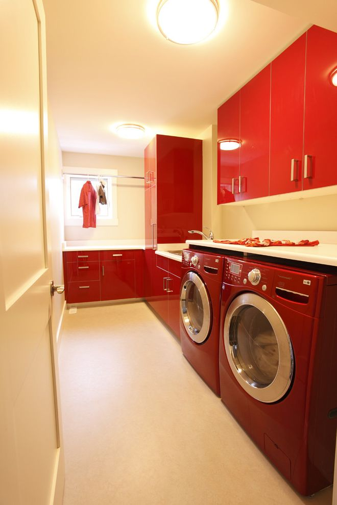 Samsung Red Washer and Dryer   Contemporary Laundry Room Also Ceiling Light Clothes Rod Flush Cabinets High Gloss Laundry Sink Red Cabinets Red Washer Dryer White Counters White Tile Floor Window White Trim