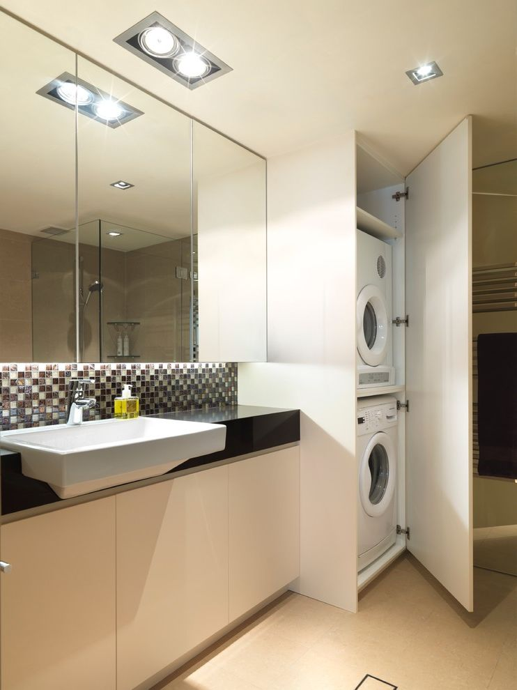 Samsung Red Washer and Dryer   Contemporary Laundry Room  and Laundry Laundry and Bathroom Modern Laundry Recessed Lighting