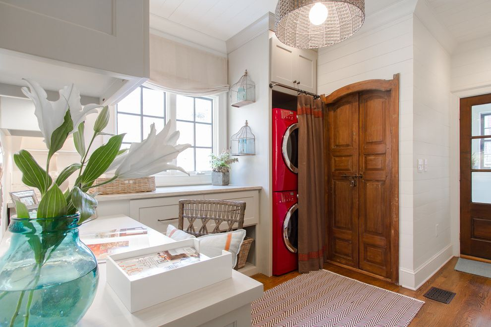 Samsung Red Washer and Dryer   Traditional Laundry Room  and Basket Beadboard Cabinets Ceiling Light Closet Cottage Desk Entry Home Office Stackable Washer and Dryer Stacked Washer and Dryer White Cabinets Wood Door