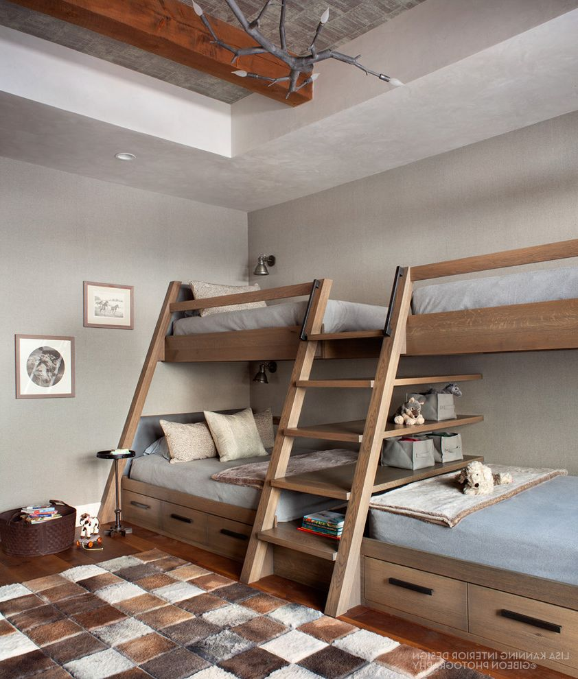 Samuels and Sons with Transitional Bedroom  and Boys Room Bunk Beds Hair on Hide Hair on Hide Rug Leather Modern Rustic Mountain Home Textured Ceiling