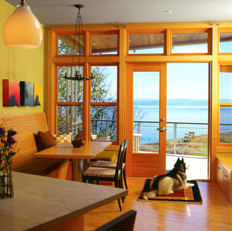 San Juan Cabins with Contemporary Dining Room  and Artwork Banquette Blue Ceiling Chandelier Nook