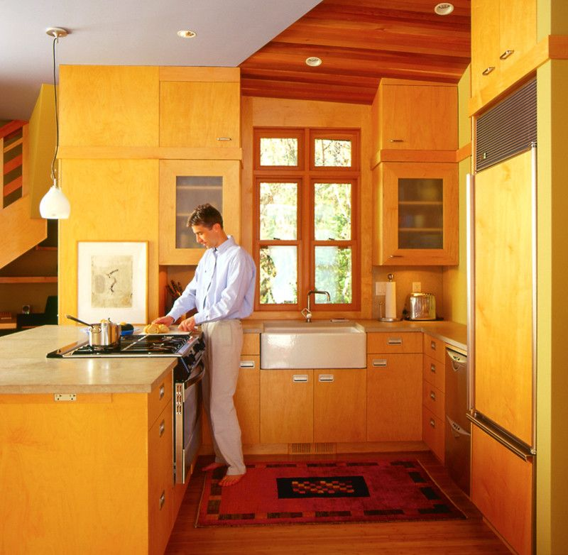San Juan Cabins with Contemporary Kitchen  and Blue Ceiling Farmhouse Sink Light Cabinets Maple Cabinets Wood Ceiling