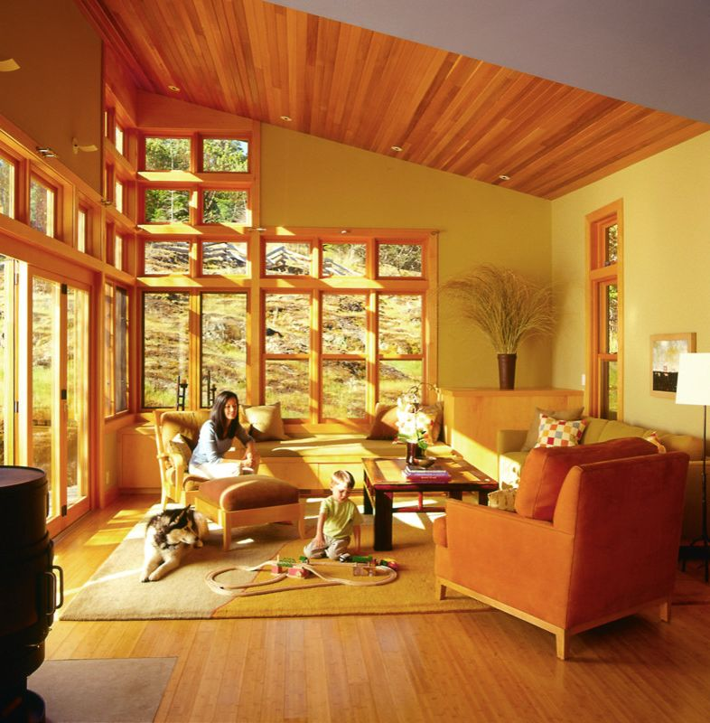 San Juan Cabins with Contemporary Living Room  and Wood Ceiling