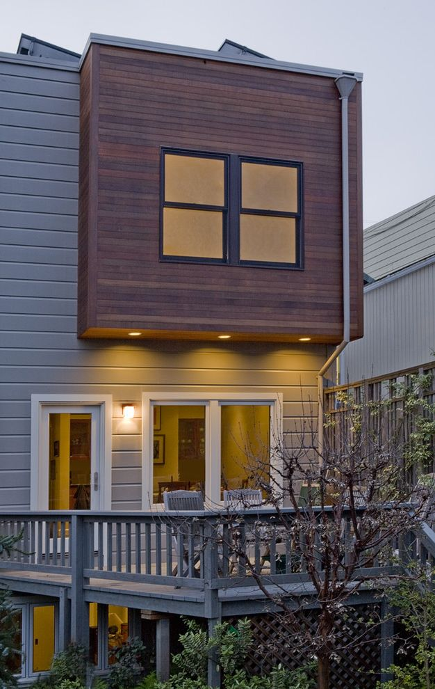 San Lorenzo Lumber   Contemporary Exterior Also Balustrade Ceiling Lighting Deck Flat Roof Glass Door Grey Handrail Lattice Natural Wood Outdoor Lighting Recessed Lighting White Wood Wood Railing Wood Siding Wood Trim