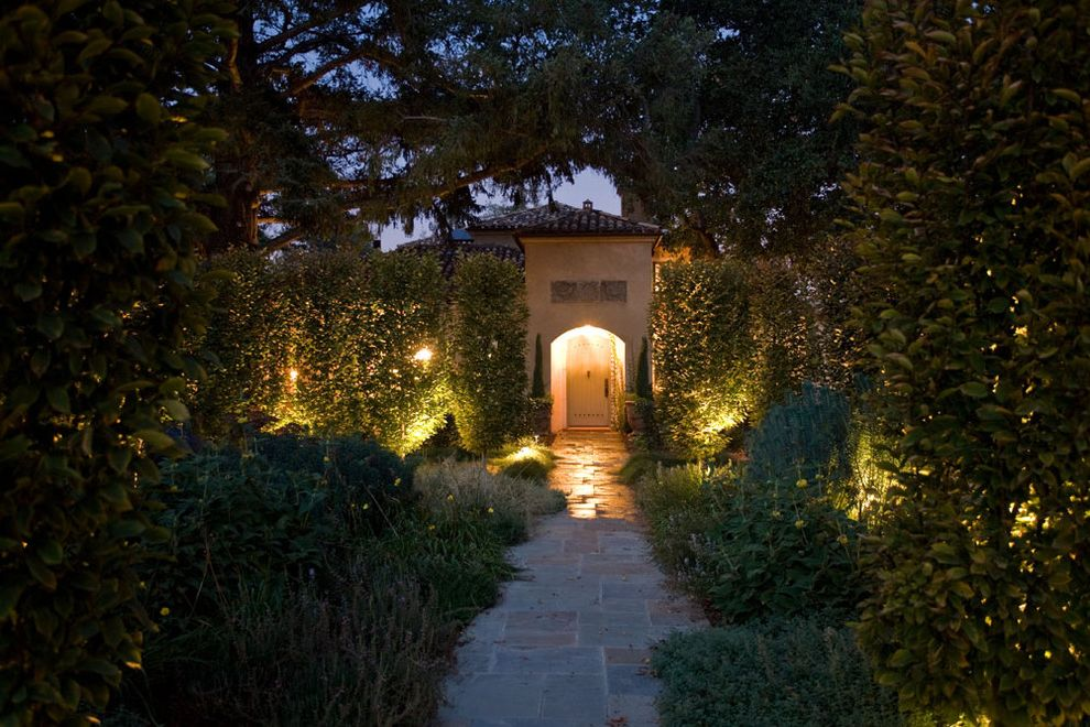 San Lorenzo Lumber with Mediterranean Exterior  and Arched Doorway Entry Landscape Lighting Landscaping Medallion Stone Pathway Stucco Tile Roof