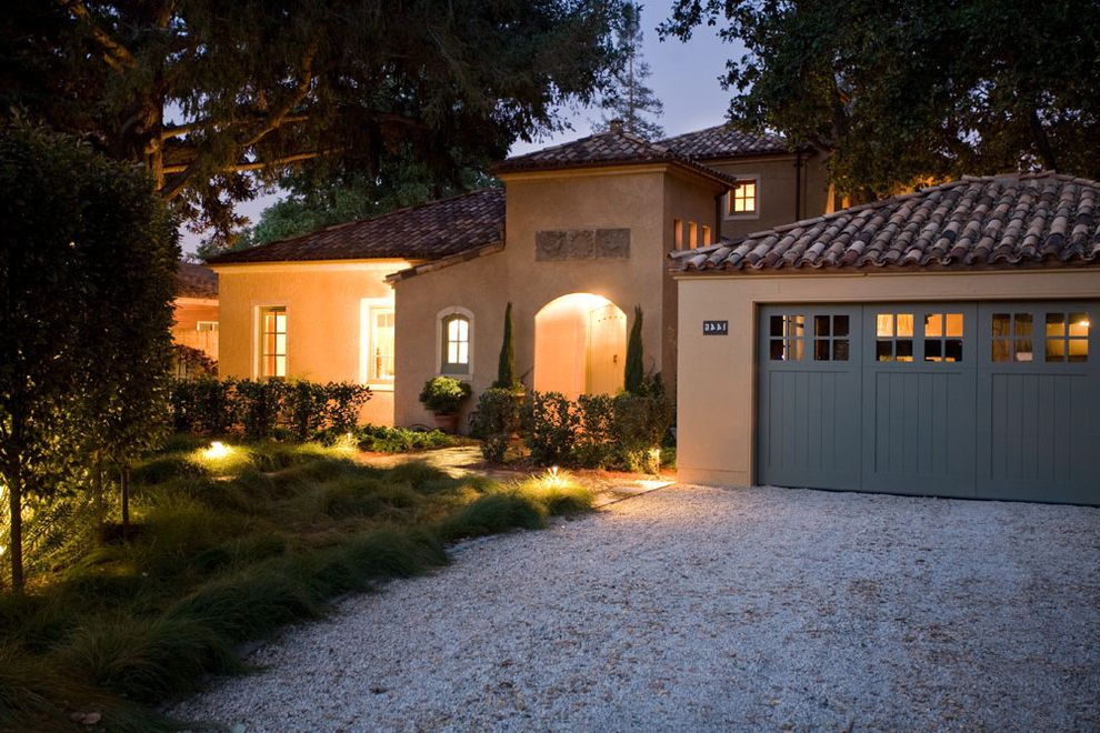 San Lorenzo Lumber with Mediterranean Exterior  and Arched Doorways Carriage Doors Gravel Landscape Lighting Medallions Tall Grasses Tile Roof