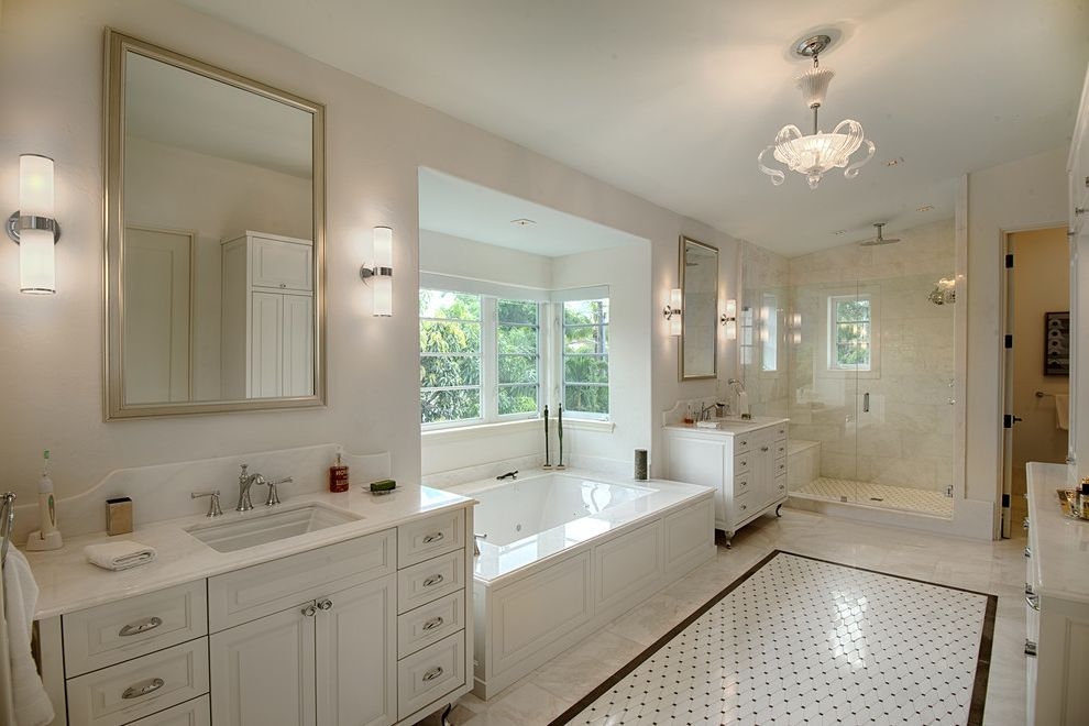 San Lorenzo Lumber with Traditional Bathroom  and Framed Mirror Pendant Light Two Vanities Wall Sconces White Countertop White Floor Tile Widespread Faucet