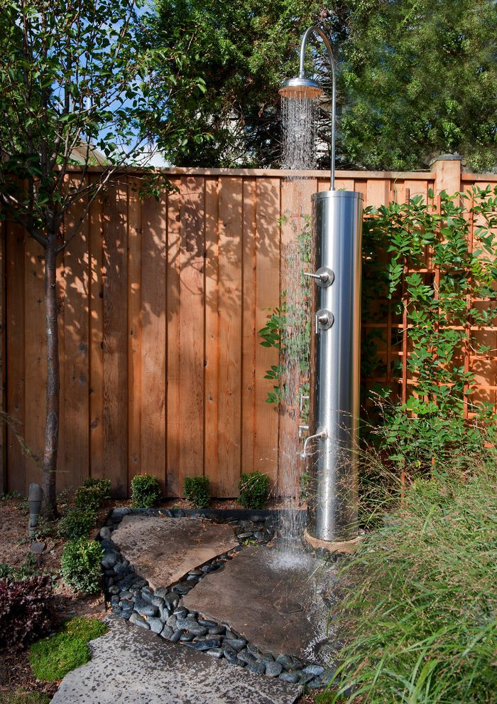 San Pablo Plumbing   Industrial Patio  and Backyard Water Features Toronto Cedar Fence Flagstone Grasses Ground Cover Outdoor Shower Path Pool Water Features Toronto Rain Shower Smooth Stones Stainless Steel Stones Trellis Water Feature Ideas Toronto