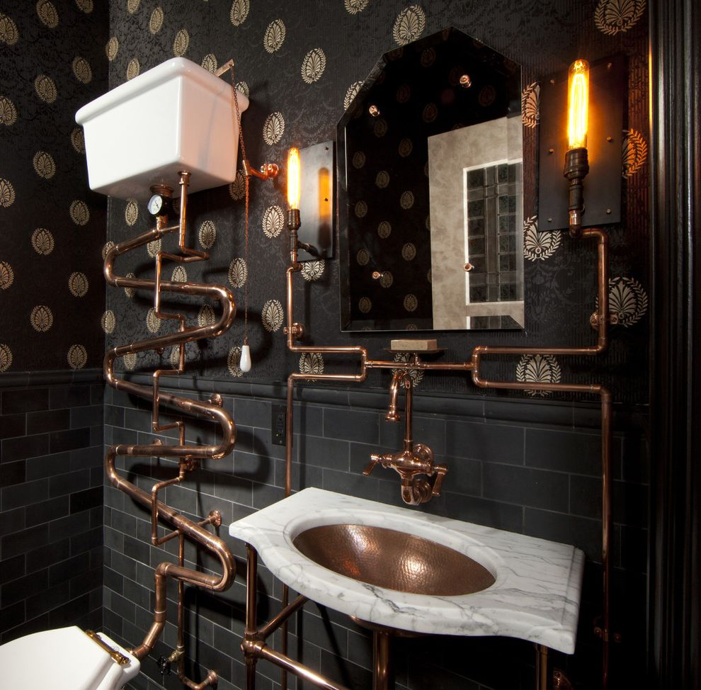 San Pablo Plumbing   Victorian Bathroom  and Black Subway Tile Copper Copper Pipes Copper Sink Exposed Pipes Interior Wallpaper Sconces Subway Tile