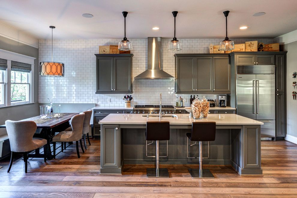 Sanded vs Unsanded Grout   Transitional Kitchen  and 3x6 Subway Tile Banquette Full Wall Tile Large Island Pendant Reclaimed Wood Floors School House Lights Schoolhouse Pendants White Counters White Quartz