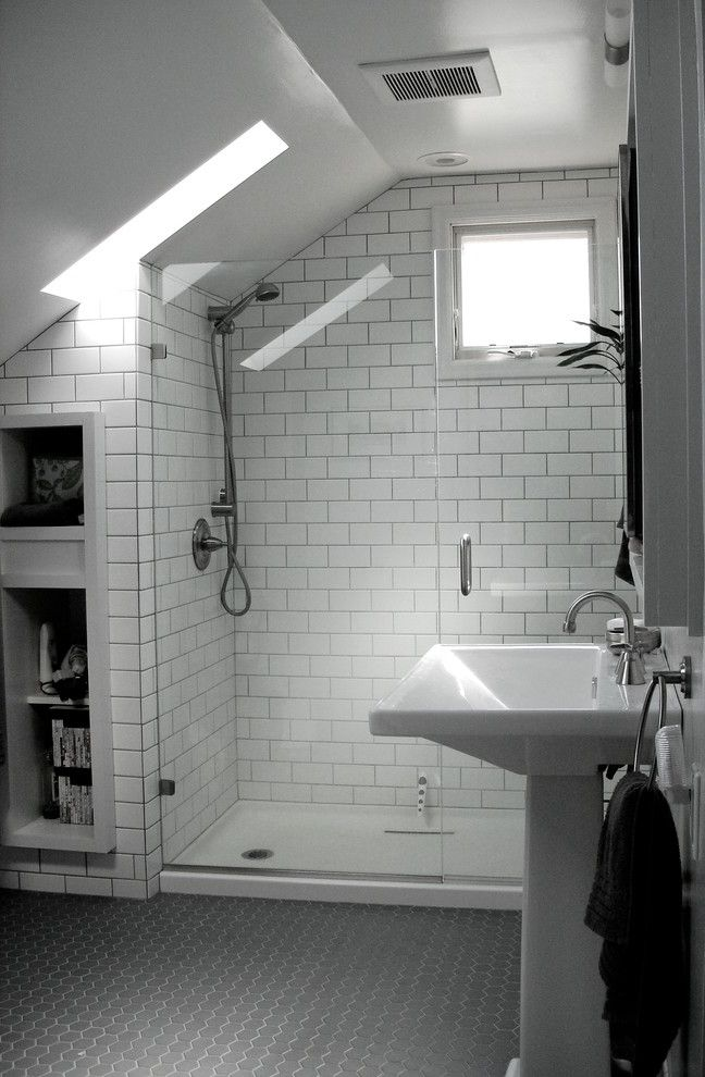 Sanded vs Unsanded Grout with Traditional Bathroom  and Grey Modern Octogonal Tile Open Shower Pedestal Skylight Small Subway Tile Tradition White